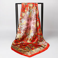 """New Arrival Women's Red Flower Paisley Silk-Satin Square Fashion Scarf 35""""*35"""""""