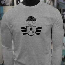 AIRBORNE PARACHUTE MILITARY ARMY SPECIAL FORCES Mens Gray Long Sleeve T-Shirt