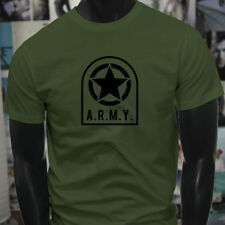 ARMY STAR PATCH NAVY ARMED FORCES MILITARY MARINE Mens Military Green T-Shirt