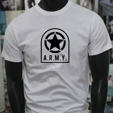 ARMY STAR PATCH NAVY ARMED FORCES MILITARY MARINE Mens White T-Shirt
