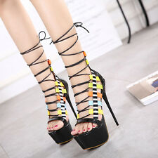 Sexy Womens High Heels Open Toe Strappy Sandals Fashion Hollow Out Pumps Shoes