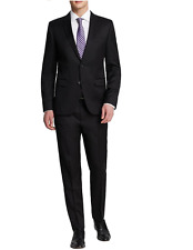 $995 Hugo Boss Navy Solid Two Button Flat Front New Men's Suit Set TS1341