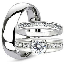 3pcs His & Hers Stainless Steel Cubic Zirconia Engagement Wedding Band Ring Set