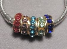 Gold plated Rondelle 5 varieties with CZ's European Spacer Bead (25980)