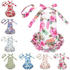 Infant Girl Baby Floral Romper Jumpsuit Dress+Headband Outfit Set Sunsuit 0-24M