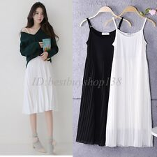 Lady Womens Pleated Chiffon Layered Full Length Cami Long Slip Dress Extender