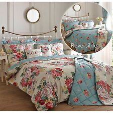 Shabby Chic Duvet Cover Sets Reversible Blue Floral Patterned Double Single King