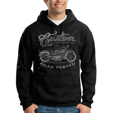 Biker Custom Motorcycles Road Tested Chopper Cool Hooded Sweatshirt Hoodie