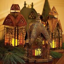 Handpainted Metal Glass Holiday Village Candle Lanterns Christmas Decor 6 Styles