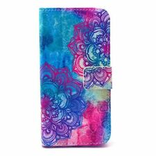 Red blue flower PU Leather Wallet Case Flip Cover Kickstand Card Slot for Phones
