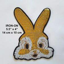 Gold Rabbit Jeans Bunny Disney Sequin Embroidery Iron On Applique Skirt Patch
