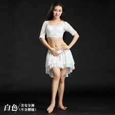 New Sexy 2017 Cheap Lace Belly Dance Costumes Stage Club 2pcs Top Skirt
