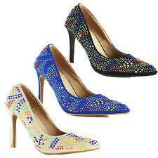 WOMEN'S LADIES HIGH STILETTO HEELS SEQUIN DETAILS COURT SHOES SANDALS SIZE 3-7