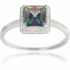 Alexandria Collection Women's Square Cut CZ Sterling Silver Mystic Topaz Engagem