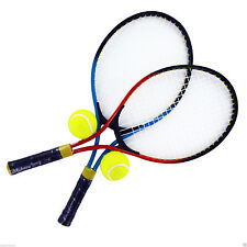 2 PLAYER TENNIS RACKET SET WITH BALLS CARRYING CASE KIDS GARDEN ALUMINIUM METAL