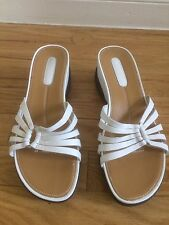ROCKPORT Womens Sandals slides WHITE Leather Comfort Shoes Sz 8M