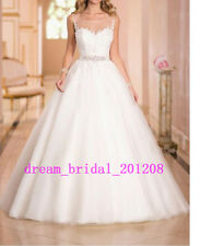 New Wedding Dress Appliques Beading Tulle Bridal Gown 4 6 8 10 12 14 16 18