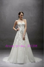 New White/Ivory Wedding Dress Appliques Beading Bridal Gowns Size 4 to 18