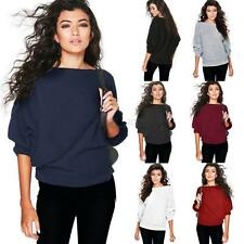 Women Ladies Oversize Off Shoulder T Shirt Chunky Knit Jumper Baggy Sweater Tops