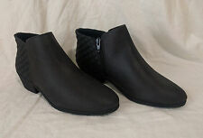 NEW Faded Glory Women's Pointed Booties Quilted Ankle Black Boots Size 8.5 or 9