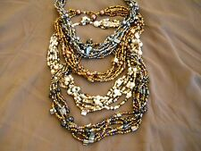 """Hand Crafted Five Strand Beaded Necklace with Pearl bead closure. 18"""" length"""