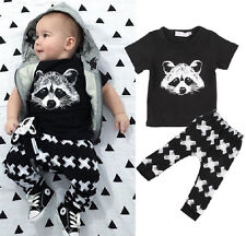 2pcs Free Shipping Kids Baby Boy Clothes Tops+Pants Trousers Raccoon Outfit Sets