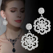 Vintage Black/White Crystal Big Hollow Flower Chandelier Earrings For Women Lady