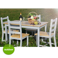 Wooden Small Dining Table and Chairs Set Contemporary White/Grey/Natural Pine