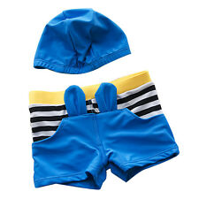 Cute Boy's Striped Swimwear Swimming Shorts Swimming Trunks + Swim Hat 6196