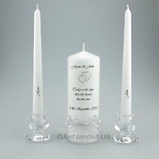 Personalised Wedding Unity Candle with Gold or Silver Hearts