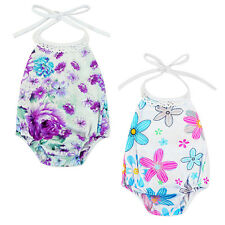 Baby Girl Toddler Halter Backless Floral Romper Jumpsuit Outfit Clothes Playsuit