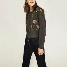 New Womens Fashion Gray Floral Embroidered Pullover Sweater Sweatshirt SML