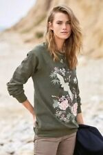 New Womens Fashion Army Green Floral Embroidered Pullover Sweater Sweatshirt