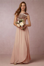 Rose Gold Sequin Long Bridesmaid Dress Two Piece Evening Formal Party Gown HD191