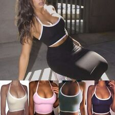 Sexy Women Halter Sports Workout Crop Top Yoga Fitness Stretch Vest Tank Top UK