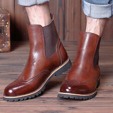 hot  Mens Brogue Wingtip Ankle Boots Chelsea Pull On Formal Dress Leather Shoes