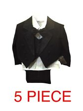 KIDS BLACK LONG TAIL TUXEDO 5 PIECE SUIT ITALIAN WEDDING PARTY PAGE BOY BABY