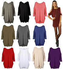 WOMENS CUT OUT COLD SHOULDER OVERSIZED CURVE HEM LOOSE TUNIC DRESS BATWING TOP