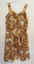 Sun Fashions of Hawaii Vintage Hawaiian Dress Brown Floral New Without Tags