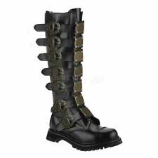 Demonia Steam 30 Unisex Eyelet Steampunk Leather Metal Plates Knee Boots