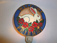 """Stain Glass Style - """"WELCOME RABBIT""""    NIGHT LIGHT"""