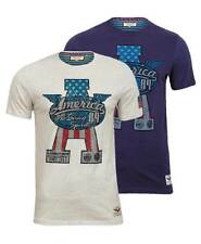 NEW Brave Soul Mens America 89 Motoring Spirit Graphic T Shirt Navy, Cream S-XL