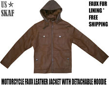 Men's NWT Faux Leather Fur Lined Brown Motorcycle Jacket with Detachable Hoodie