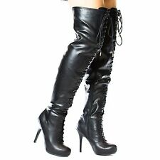 Pretense^ Military Over The Knee Thigh High Corset Lace Up Boot Faux Fur Lining