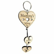 "Personalised Wooden Keyring Mummy Mum Mam Mom ""Heart Belongs To"" Mothers Day"