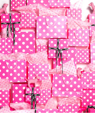 VICTORIA'S SECRET STRIPED PINK POLKA DOT GIFT BOXES BAGS TISSUE RIBBON HAIR TIES