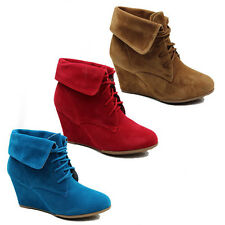 WOMENS LADIES LACE UP FOLD OVER CUFF WEDGE HEEL ANKLE BOOTS SHOES SIZE 3-8
