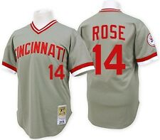 *NEW* Cincinnati Reds Mitchell Ness Adult #14 Pete Rose Jersey Gray NWT
