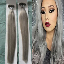16-22Inch Sliver Grey Remy Human Hair Extensions  keratin Capsule U/Nail Tip