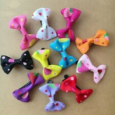 20PCS/LOT Handmade Pet Dogs dot Mixed Ribbon Grooming Hair Bows puppy hair clips